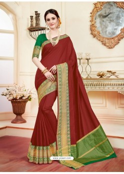 Astonishing Maroon Cotton Silk Saree