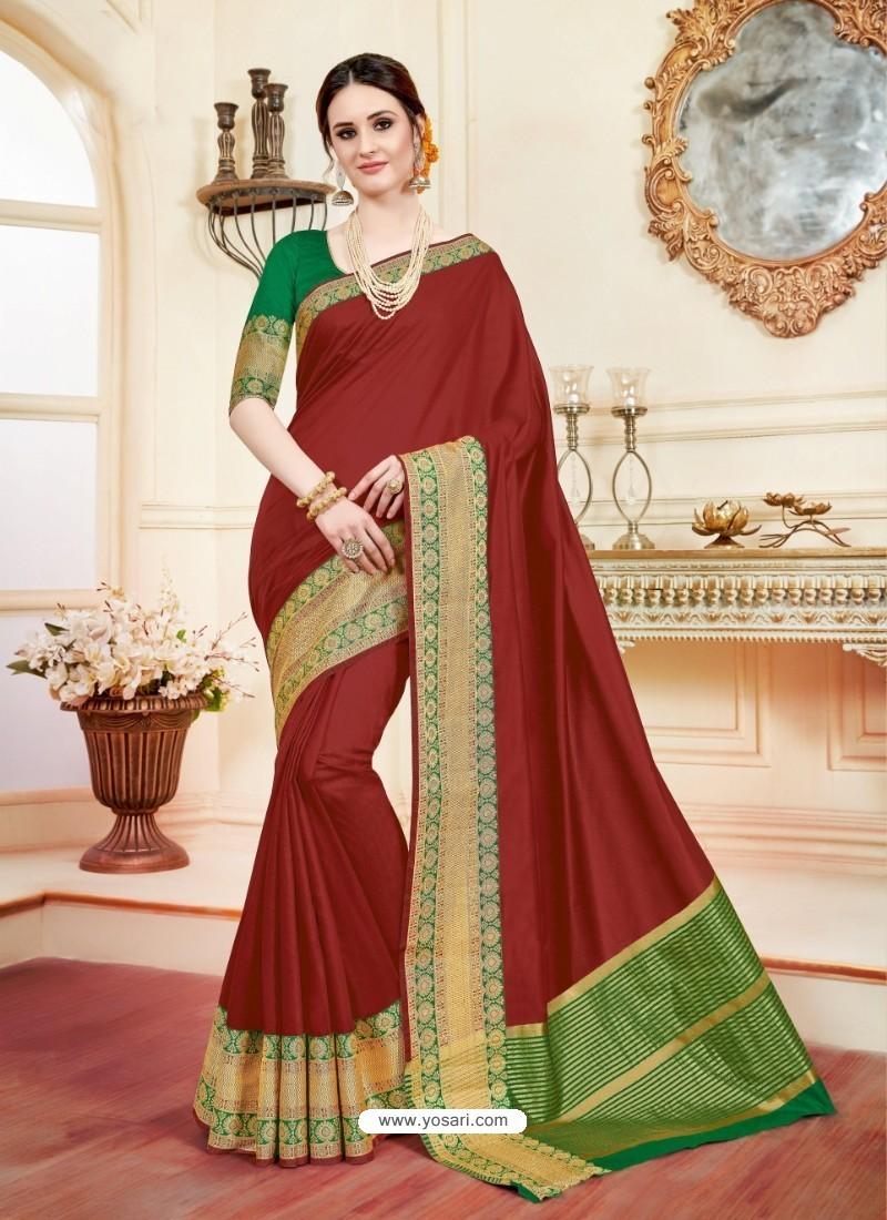 Astonishing Maroon Cotton Silk Saree