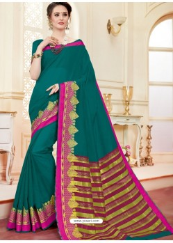 Stylish Teal Cotton Silk Saree