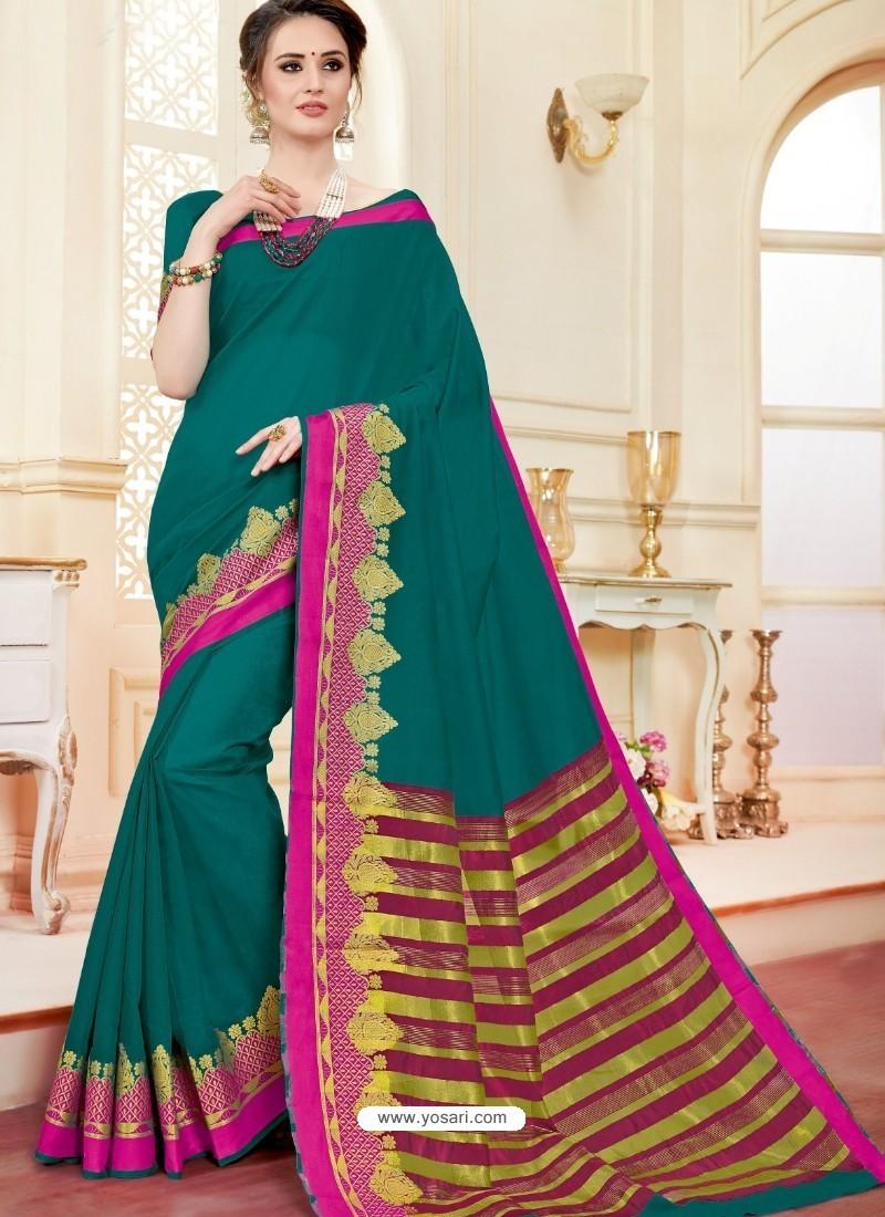 Stylish Teal Cotton Silk Saree