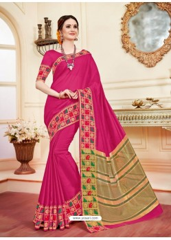 Trendy Fuchsia Cotton Silk Saree