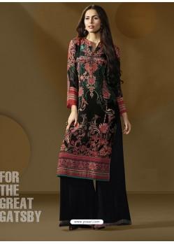 Beautiful Black Printed Palazzo Suit