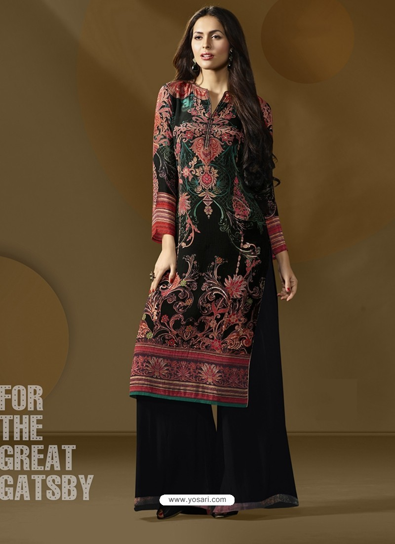 511975f8e1 Buy Beautiful Black Printed Palazzo Suit | Palazzo Salwar Suits