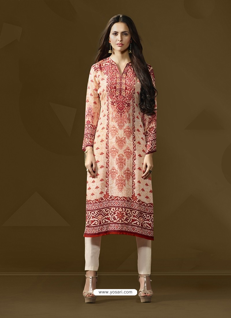 Adorable Off White Cotton Satin Printed Suit