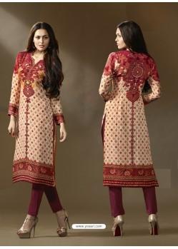 Multi Colour Cotton Satin Printed Suit