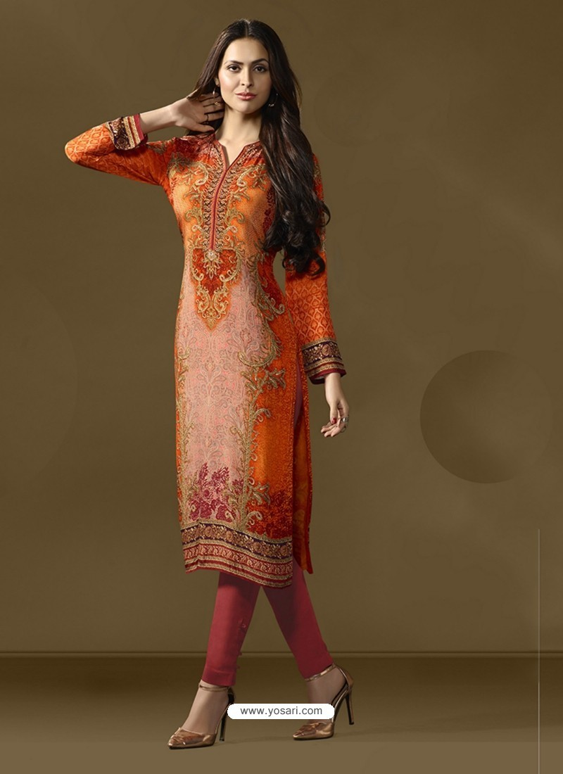 Orange Cotton Satin Printed Suit