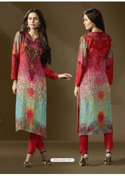 Stylish Multi Colour Cotton Satin Printed Suit