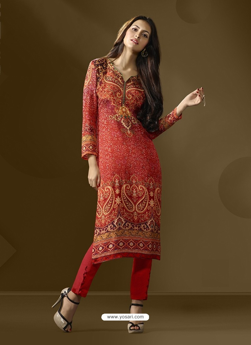 Beautiful Red Cotton Satin Printed Suit
