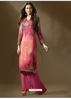 Imperial Pink Printed Palazzo Suit