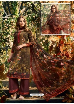Incredible Brown Crepe Silk Georgette Suit