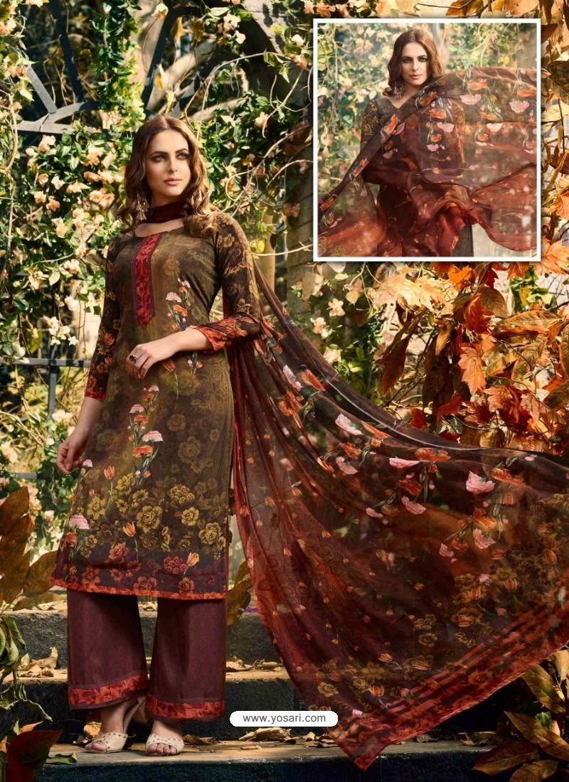 Incredible Brown Crepe Silk Georgette Suit