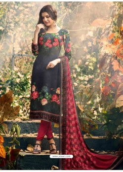 Modern Carbon Crepe Silk Georgette Suit