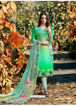 Fabulous Sea Green Crepe Silk Georgette Suit