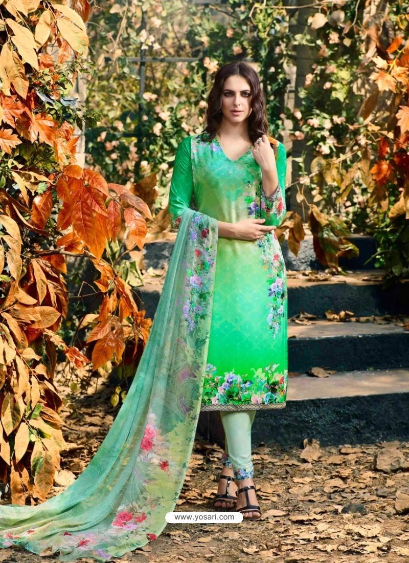 Fabulous Sea Green Crepe Silk Georgette Suit