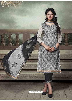 Black And Grey Chanderi Silk Salwar Kameez