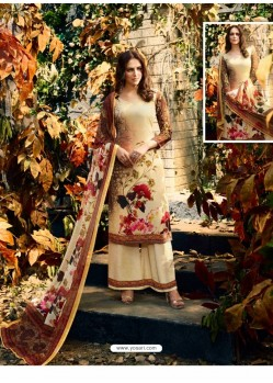 Lovely Cream Crepe Silk Georgette Suit