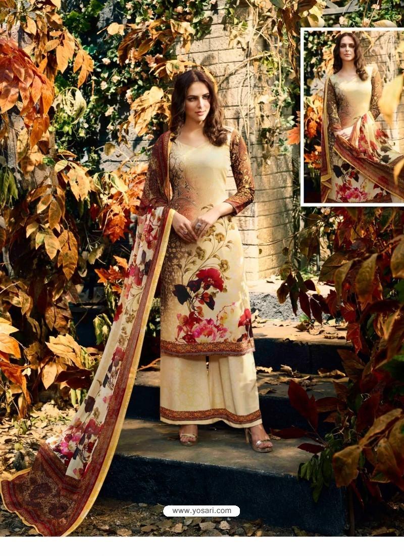 Lovely Cream Crepe Silk Georgette Suit