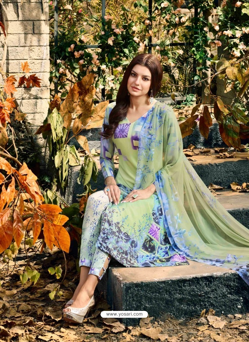 Decent Sea Green Crepe Silk Georgette Suit