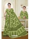 Impressive Parrot Green Cotton Saree