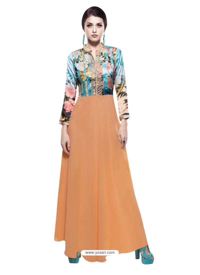 Marvelous Orange Georgette Digital Print Gown