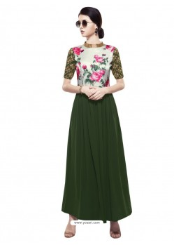 Invigorating Teal Georgette Digital Print Gown