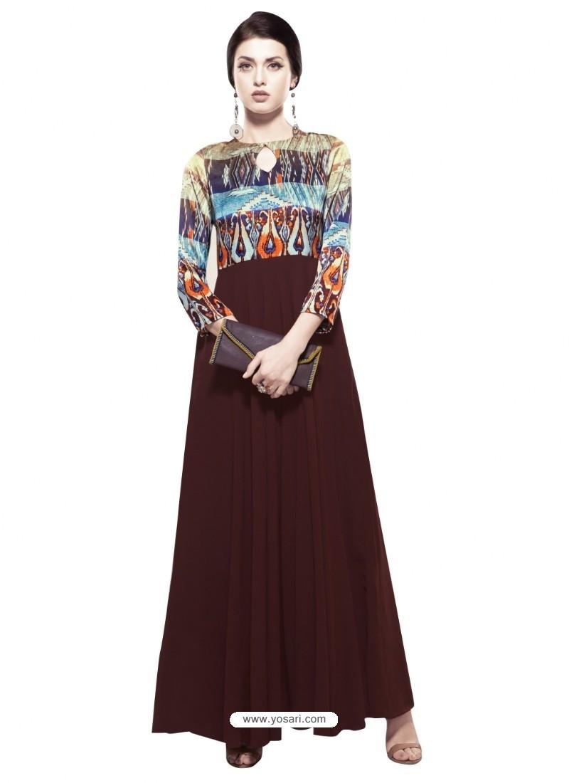 Groovy Deep Scarlet Georgette Digital Print Gown
