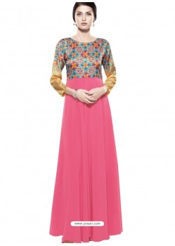 Magnificent Fuchsia Georgette Digital Print Gown