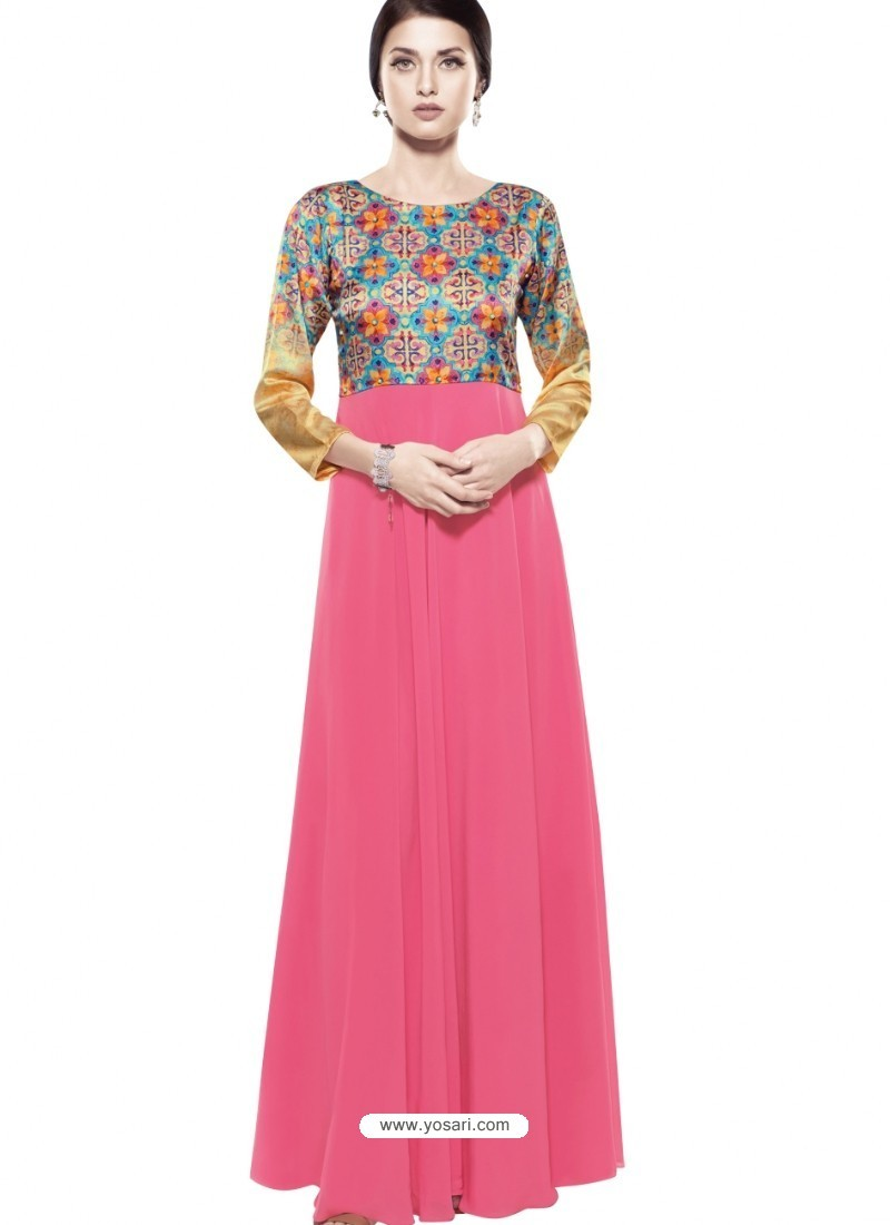 Magnificent Fuchsia Georgette Digital Print Gown
