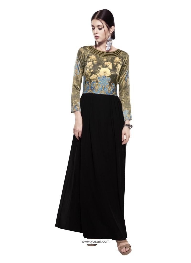 Glowing Black Georgette Digital Print Gown