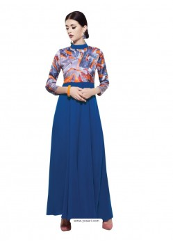 Deserving Blue Georgette Digital Print Gown