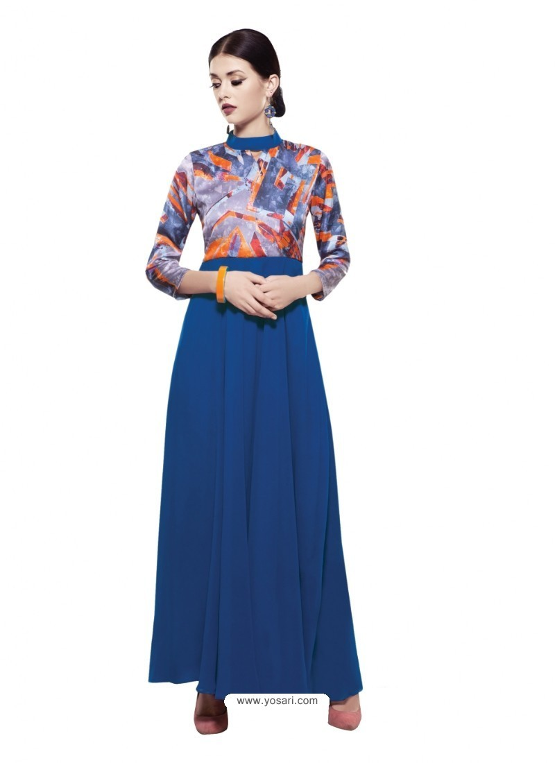 Deserving Blue Georgette Digital Print Gown