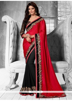 Latest Black And Red Shaded Faux Georgette Saree