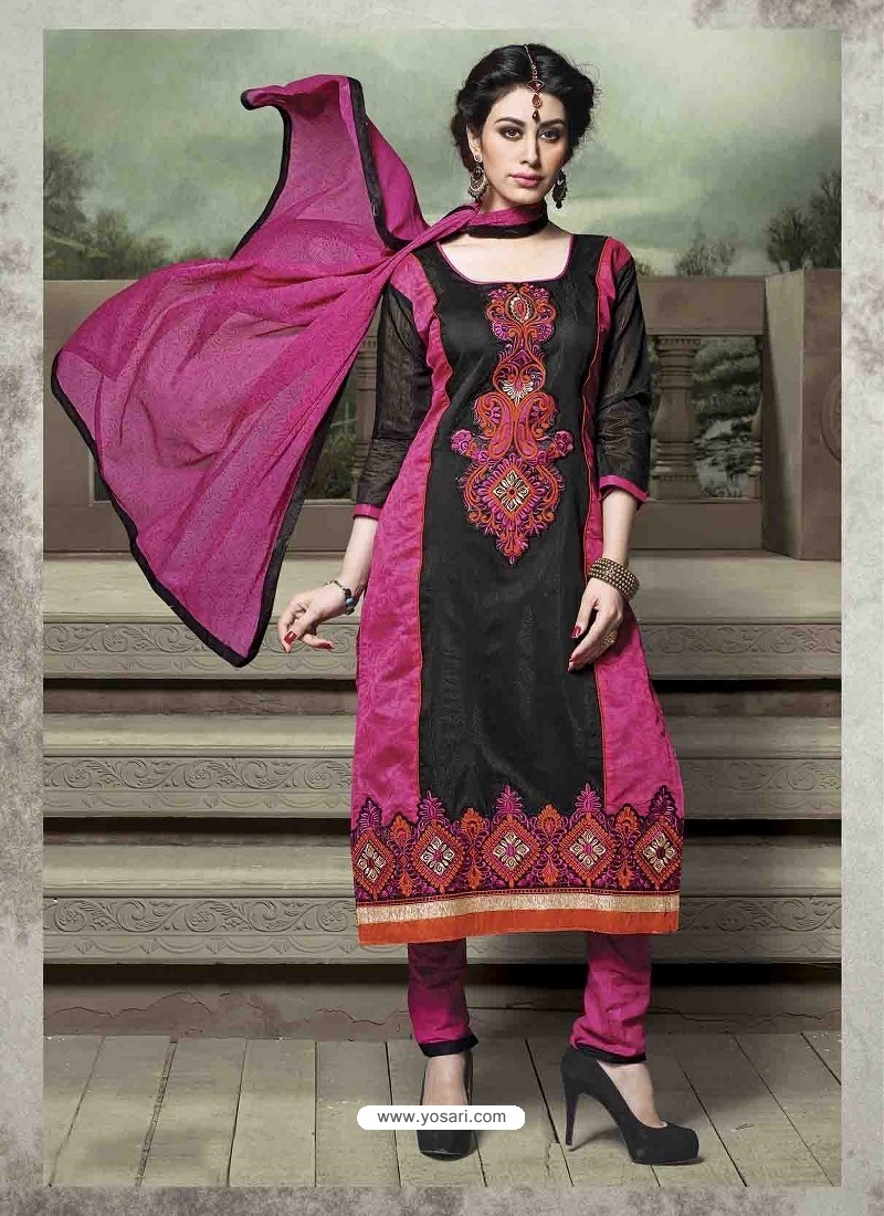 Pink And Black Chanderi Silk Salwar Kameez