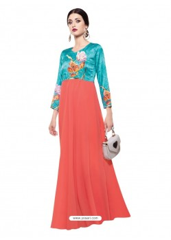 Luxurious Peach Georgette Digital Print Gown