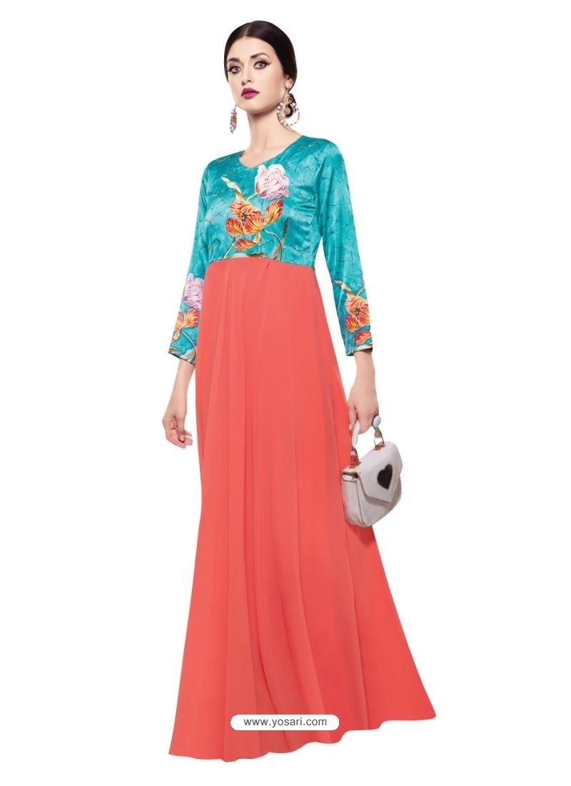 Luxurious Peach Georgette Digital Print Gown