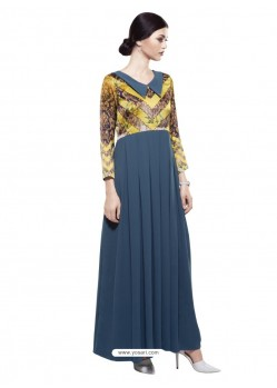 Fashionistic Tealblue Georgette Digital Print Gown
