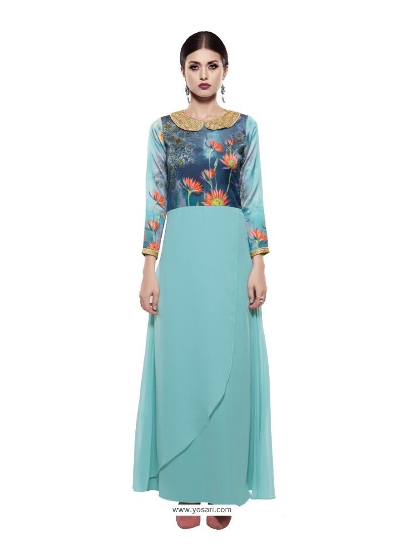 Buy Marvelous Sky Blue Georgette Digital Print Gown | Gowns