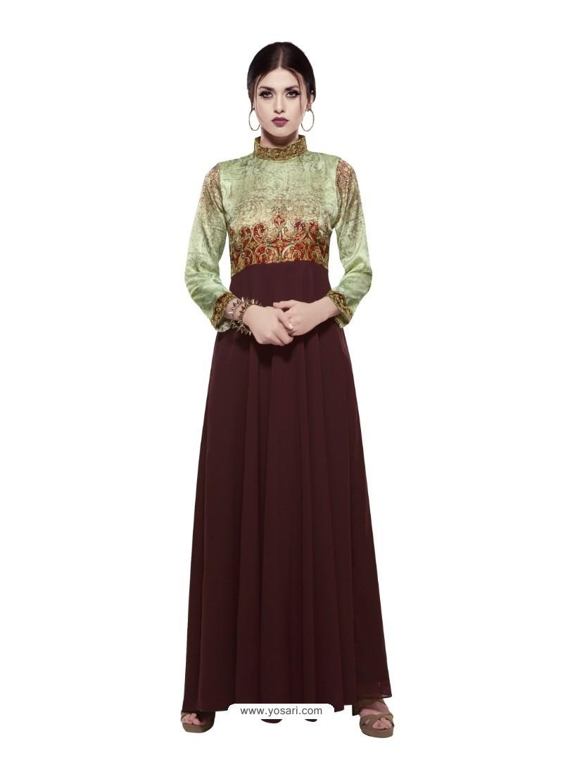 Invigorating Deep Scarlet Georgette Digital Print Gown