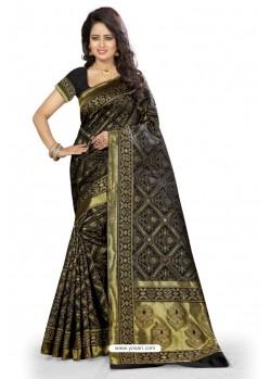 Incredible Black Kanjivaram Silk Saree