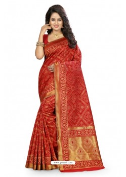 Groovy Red Kanjivaram Silk Saree