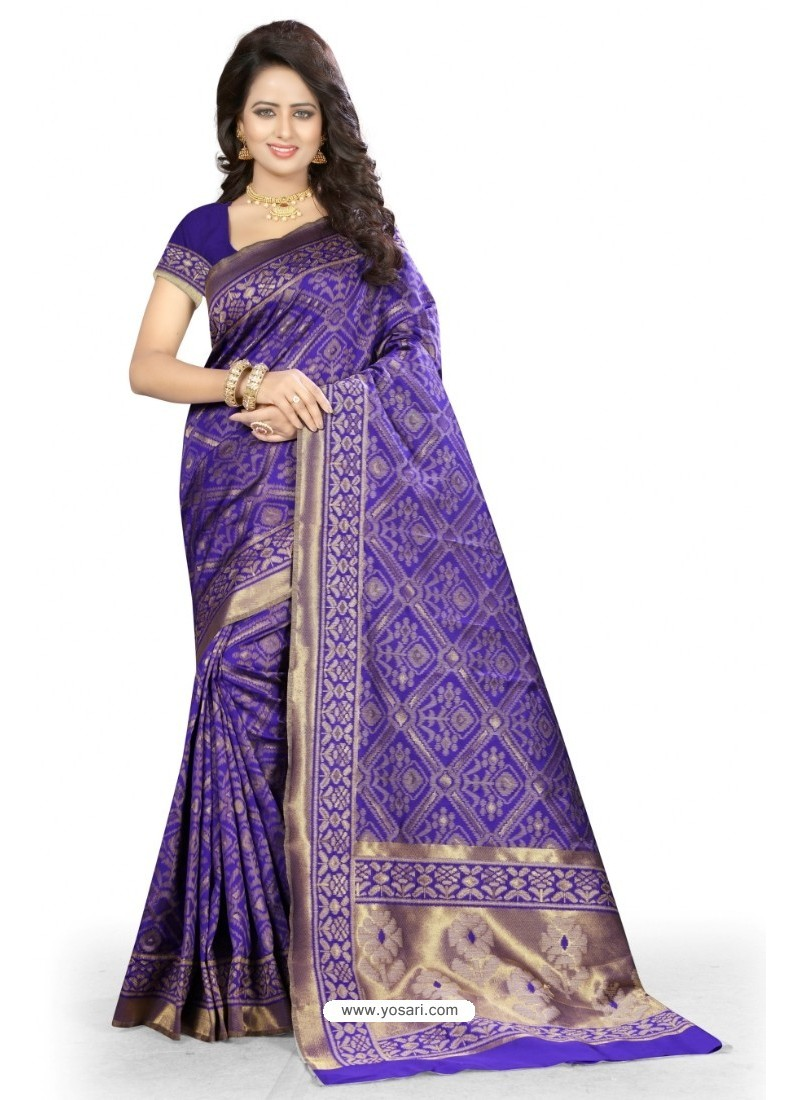 Magnificent Violet Kanjivaram Silk Saree