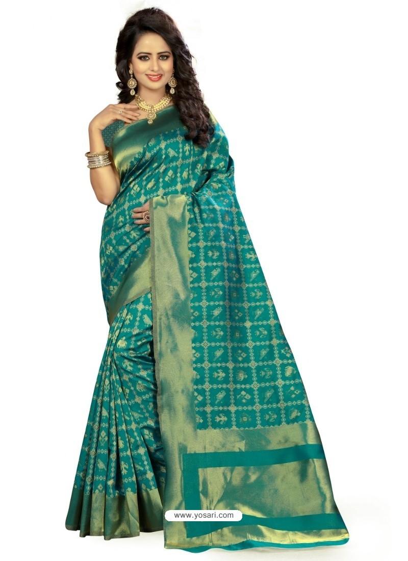 Modern Teal Kanjivaram Silk Saree