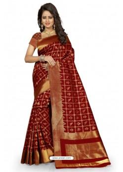 Fabulous Maroon Kanjivaram Silk Saree