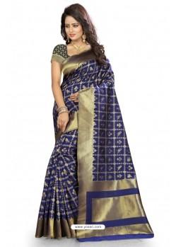 Lovely Royal Blue Kanjivaram Silk Saree