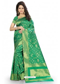 Decent Sea Green Kanjivaram Silk Saree