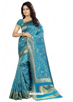 Dazzling Blue Kanjivaram Silk Saree