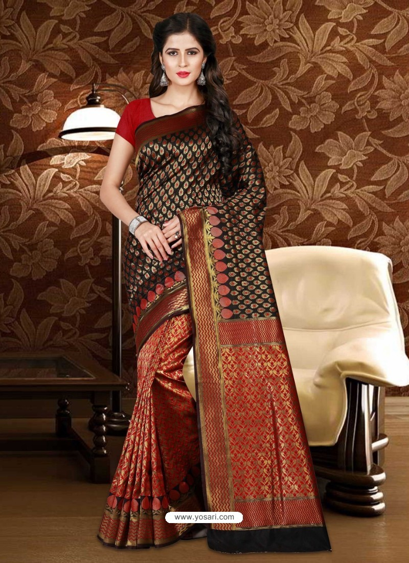 Decent Black Patola Silk Saree