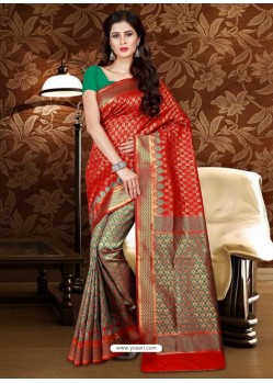 Dazzling Red Patola Silk Saree