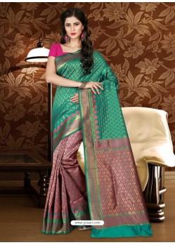 Astonishing Teal Patola Silk Saree