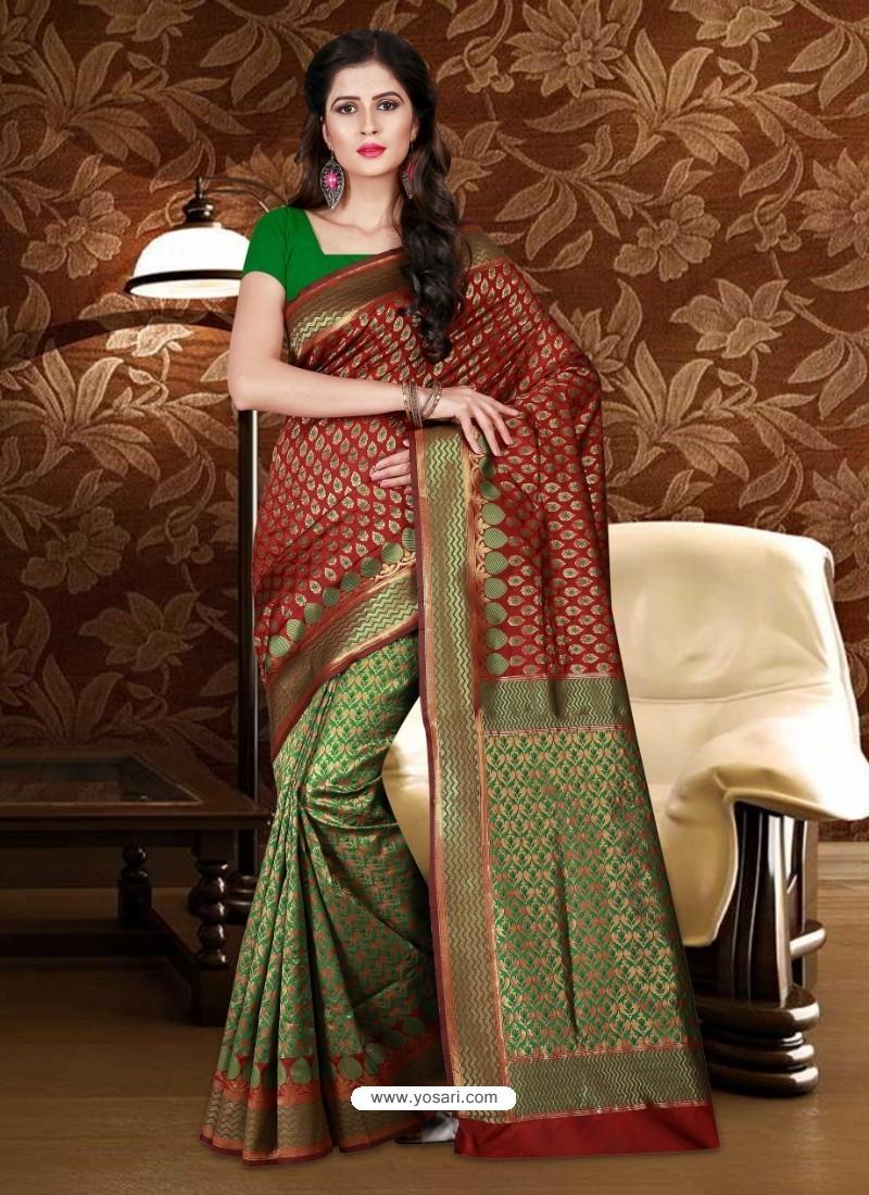 Stylish Maroon Patola Silk Saree